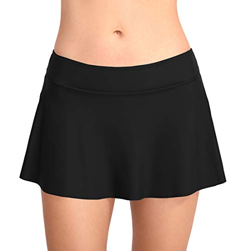 FEOYA Badeshorts Damen UV Schutz Bikini Rock Schwimmen Bikinihosen Wassersport Boardshorts Schwarz M