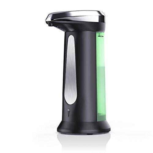 Arendo - automatischer Seifenspender / Seifendosierer | optimierte Pumpe | Flüssigseifenspender mit integriertem Infrarot - Sensor | 340ml Fassungsvermögen | schwarz Keramik Seifen-pumpe