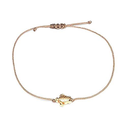 (Schildkröten Armband Roségold - Braunes Textil Armband mit roségoldener Schildkröte - HANDMADE)