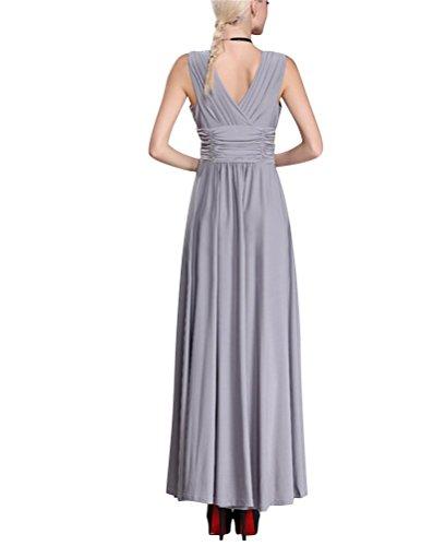 Brinny Femme Robe Maxi V-Cou sans manches high waist Plissé Swing Robe de Soirée de Cocktail de Mariage de Partie Grand Taille L - 6XL Gris