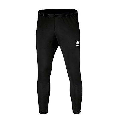 KEY Trainingshose (lang) mit schmalem Bein (eng zulaufend) und Reißverschluss von Erreà · UNISEX Herren Damen Zip-Sporthose (anliegend) · Slim-Fit-Hose (Jogginghose) aus elastischem Material für Individualsport & Teamsport (schwarz, L)