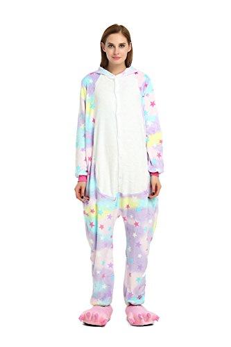 Mädchen/Jungen Kinder Einhorn Pyjamas Schlafanzug Tierkostüm Unisex Jumpsuit Cosplay Weihnachten Fasching Karneval Kostüm mit Kapuze für Größe 145-155cm