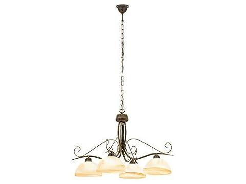 Elegante Hängeleuchte in Messing Antik 4x E27 bis 60 Watt 230V Pendelleuchte aus Metall & Glas Hängelampe für Wohnzimmer Esszimmer Lampe Leuchten Beleuchtung