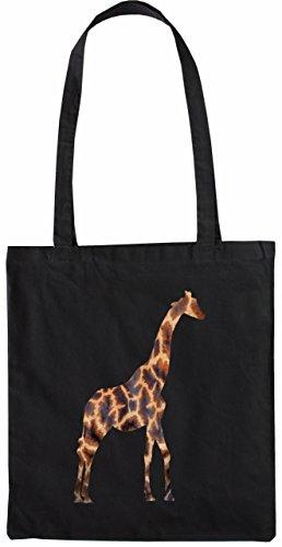 Mister Borsa Di Tela Giraffa Borsa Di Stoffa, Colore: Natura Nero