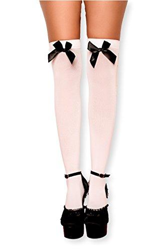Kniestrümpfe Overknee Strümpfe socks hohe Socken Überkniestrümpfe mit Streifen Schleife für Mädchen cheerleader college Damen und Kinder extra lang schwarz weiß sport Cosplay