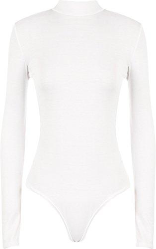 WearAll - Übergröße Damen Rollkragen Bodysuit Langarm Leotard - Weiß - 48-50 (Rollkragen-weiß Kleidung)