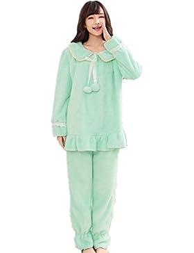 DMMSS Ladies Coral velluto accappatoio ispessimento maniche lunghe vestito pigiama , green , l