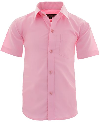 GILLSONZ A0 vDa New Kinder Party Hemd Freizeit Hemd bügelleicht Kurz ARM Gr.86-158 (128-134, Rosa) (Rosa Slim Fit Hemd)