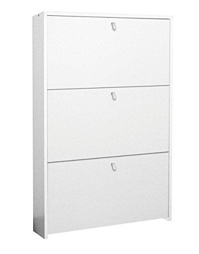 Klipick scarpiera salvaspazio colore bianco 3 ante dimensioni: l 67 p 15 altezza 100