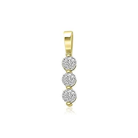 0.21ct F/VS1 Diamant Anhänger für Damen mit runden Brillantschliff diamanten in 18kt (750) Gelbgold mit (Amethyst Sterling Silber Kruzifix)