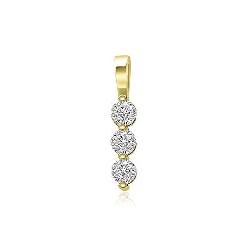0.21ct G/VS1 Diamant Anhänger für Damen mit runden Brillantschliff diamanten in 18kt (750) Gelbgold ohne (Kostüm Klobige Armbänder)