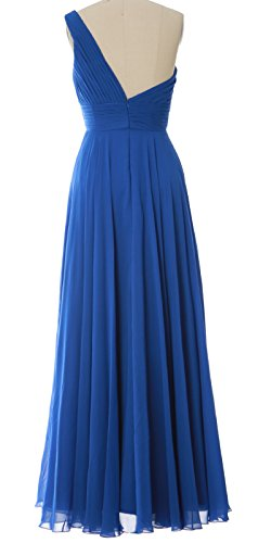 MACloth Women One Shoulder Long Bridesmaid Dress Wedding Party Evening Gown Aqua