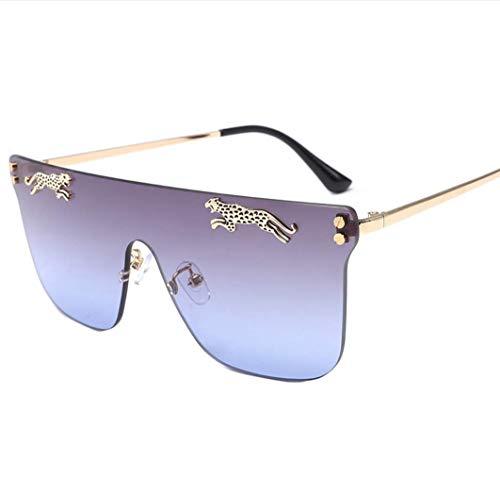 WYJW Super Übergroße Sonnenbrille Für Frauen Randlose Rahmen Candy Farbe Transparente Gläser Für Frauen Männer Flat Top Fashion Uv400 Sonnenbrille