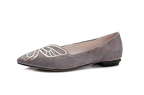 NobS Cuir Handmade Brodé Butterfly Rude Femmes Flats Chaussures Casual Work Shoes , grey , 39