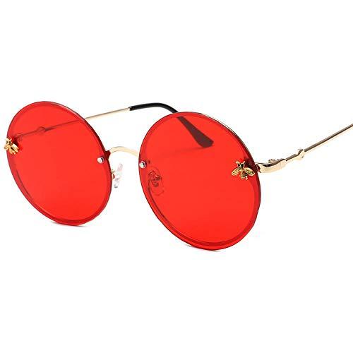 Klassisches Retro-Outdoor-EssentialSonnenbrille mit rundem Gestell, zarte dekorative Sonnenbrille in Rot
