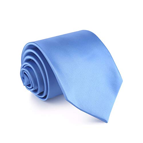 WUNDEPYTIE Bright Face Wide Tie 8.5Cm Business Dress Wedding Solid Color Tie Gift Box, Light Blue Bow Tie Solid Light