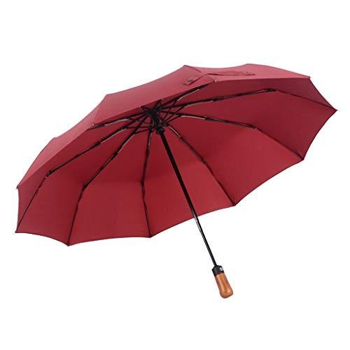 DWJ-Z Regenschirm, Echtholzgriff Automatisch Öffnen Mit Ausschalten Regenfest Winddicht Männer Mit Frau (Color : Red)