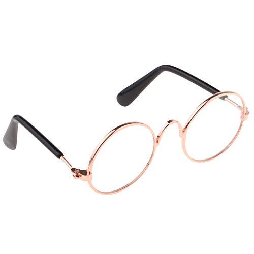 Unbekannt 1/6 Skala Puppe Runde Golden Frame Brillen Sonnenbrillen Für Blythe Puppen - Klar