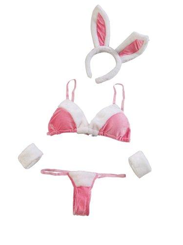 �m: Sexy Bunny-Kostüm mit Ohren & Bommelschwanz, M (Kostüm für Fasching, Karneval) (Mann Im Hasen-kostüm)