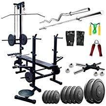 20 in 1 Bench+ 40 KG Rubber Plates Home Gym Set+5 FT (25MM) Plain Rod +1 Pair Dumbbells Rod