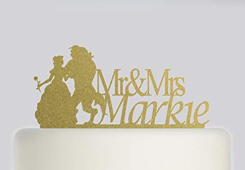 Tortenaufsatz für Hochzeitstorte - Die Schöne und das Biest - Herr und Frau Kuchendekoration mit Ihrem Nachnamen - Braut und Bräutigam