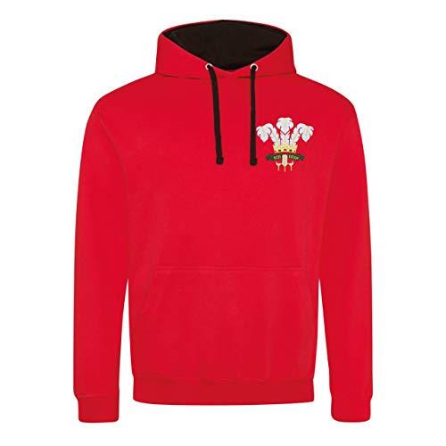 Print Me A Shirt pour Homme rétro du Pays de Galles brodée Écusson Rugby Sweat à Capuche - Rouge - 102 cm/M