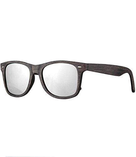 Caripe Retro Nerd Vintage Sonnenbrille verspiegelt Damen Herren 80er - SP (LS535 - Holzoptik grau - Silber verspiegelt)