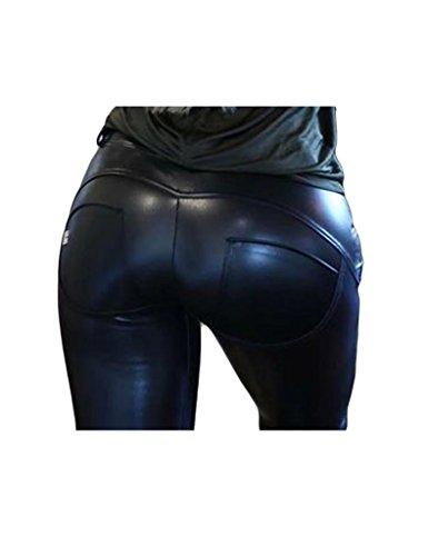 Bestgift Femme Pantalon style motard à cuir serrer Noir
