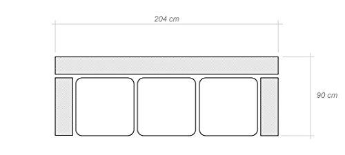 3er Sofa Hector mit Staukasten und Bettfunktion - Abmessungen: 204 x 90 cm (B x T) - 5