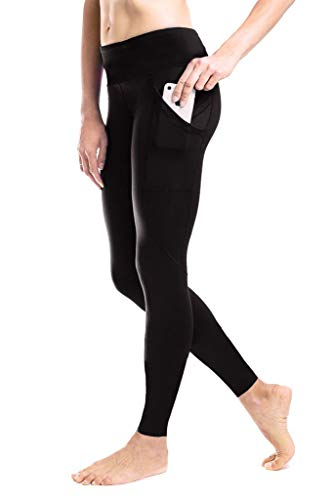 Yogipace Damen Wanderleggings, Petite/Regular Tall, Leggings, Kompressions-Leggings, Baselayer, Laufen, Radhose, mit Seitentaschen, Damen, 31