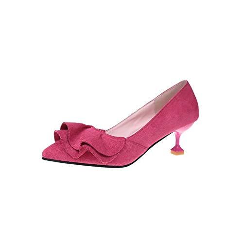 Rüschen Frauen-Pumpen Weibliche Heel Süße Beleg auf Spitzschuh Schuhe dünne hohe Absätze, Rosy Rot, 5 (Rockport-pumpen-frauen-schuhe)