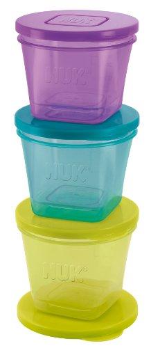 NUK 10255183 Fresh Foods Contenitori salva freschezza, per conservare le pappe del bambino, in 3 misure, Multicolore (bunt)