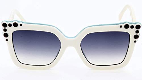 Fendi Damen FF 0260/S 9O 0GA Sonnenbrille, Weiß (White Aqua/Dark Grey Sf), 52