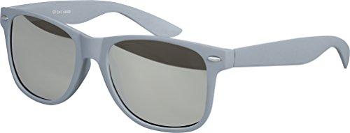 Balinco Hochwertige Nerd Sonnenbrille Rubber im Wayfarer Stil Retro Vintage Unisex Brille mit Federscharnier - 96 verschiedene Farben/Modelle wählbar (Grau - Silber verspiegelt)
