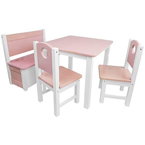 Kinder-Sitzgruppe - Kinderzimmer Set: 1 Tisch, 2 Stühle und Truhenbank - Top Möbel-Qualität aus Kiefer Massivholz - Kindertisch Kinderstühle Kindertruhe für Jungen und Mädchen, Farbe:Rosa