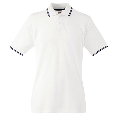 Fruit of the loom - polo 100% cotone - uomo (xl) (bianco/blu scuro)