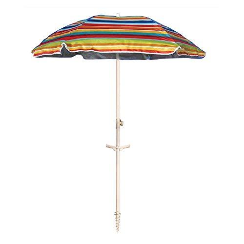 Ombrellone da spiaggia in policotone diam. 200cm, ombrellone mare portatile con custodia con tracolla, ombrellone spiaggia Ø 2M colorato Sanremo, ombrellone da mare con trivella in acciaio sul palo