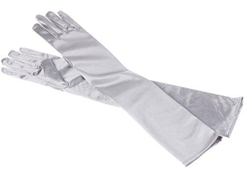MEISHINE® Braut Ellenbogenlange Handschuhe Damen Frauen Lange Satin Stretch Handschuhe für Hochzeit Abendveranstaltung (Silber Grau)