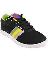 11E Men's Black Green Canvas Sneakers