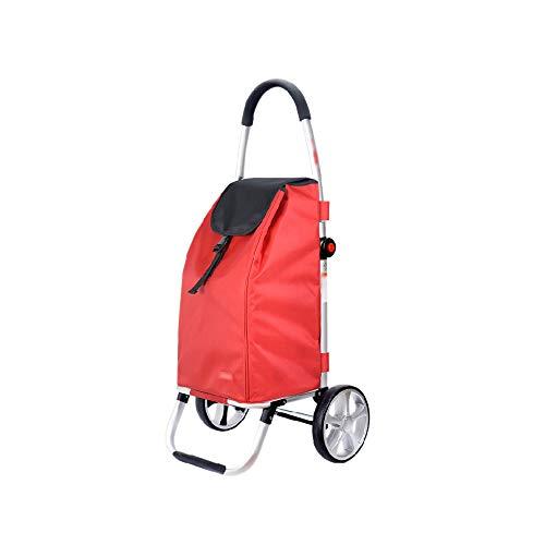 Faltbarer Einkaufswagen-Aluminiumlegierung, die Gemüse-Einkaufslaufkatze kauft GW (Farbe : Rot)