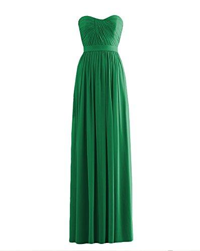 ANNN Femme Robe de Bretelles Mousseline de Soie Robes de Demoiselle D'honneur Robes de Bal Party Vert
