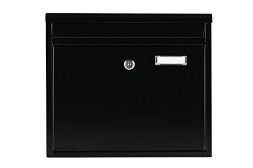 Briefkasten SCHWARZ 30x36x9 Wandbriefkasten Extra Lackschicht gegen Rost Mailbox Briefkastenanlage Postkasten Stahl Schwarz Montagematerial und 2 Schlüssel Inclusive