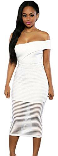 La Vogue Robe Moulante Décolleté Dos Nu Sans Manche Mi Longue Rayures Blanc