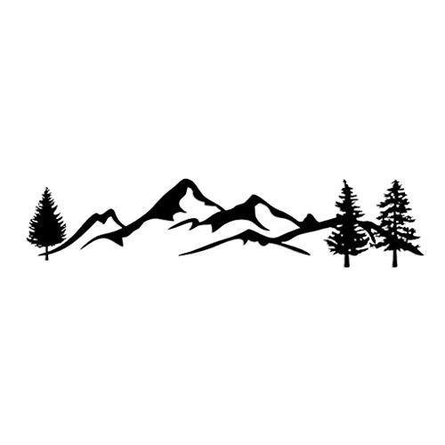 FURU 1 Stück 100 cm Schwarz/Weiß Baum Berg Auto Decor Haustier Reflektierende Wald Auto Aufkleber Aufkleber