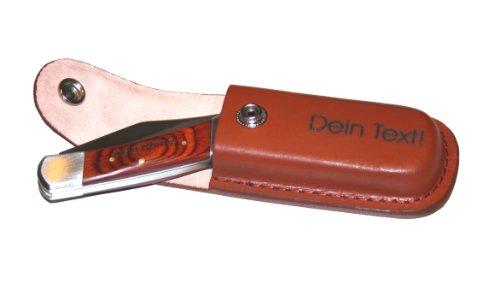 Taschenmesser mit Lederetui - Graviert mit Deinem eigenen Text / Wunschtext (Messer + Etui graviert)