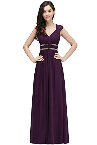 Damen Elegant Rückenfrei Chiffon Abendkleid Hochzeitskeid Festkleid Bodenlang Lila 46