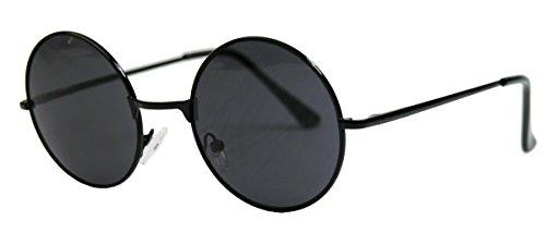 runde Retro Sonnenbrille im Lennon Stil Metallrahmen Nickelbrille Klassiker im 60er 70er Jahre Vintage Look - viele Farben LNS (Schwarz / Smoke)