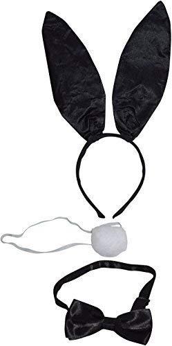 DaMaro Bunny Damenkostüm-Set Hase Glitzer 3-teilig schwarz Einheitsgröße mit Ohren Schwänzchen und Fliege für Karneval, Fasching - Sexy Kind Kostüm