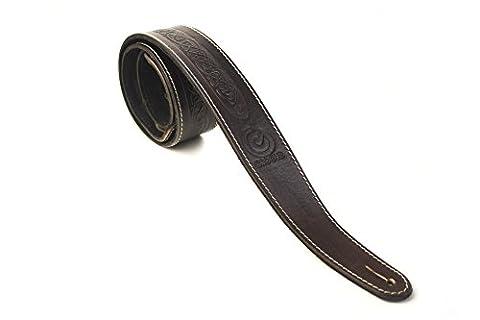 Fabriqué au Royaume-Uni en cuir véritable motif nœud celtique irlandais style 5,1cm Largeur sangle de guitare avec longueur réglable marron