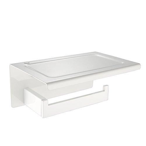 Fuloon Weiß WC Toilettenpapierhalter Edelstahl Papierhalter Toilette Halter Papierrollenhalter Rollenhalter mit Deckl Klopapierhalter für Bad Badezimmer
